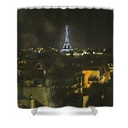 Blue Eiffel At Night Shower Curtain