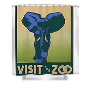 Blue Elephant Visit The Zoo Shower Curtain