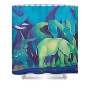 Blue Elephants Shower Curtain