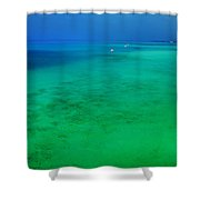 Blue Emerald. Peaceful Lagoon In Indian Ocean  Shower Curtain