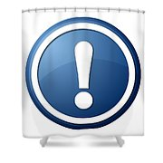Blue Exclamation Point Button Shower Curtain