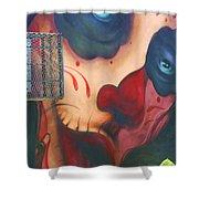 Blue Eyed Skull Shower Curtain