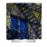 Blue Fire Escape Shower Curtain