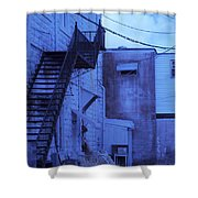Blue Fire Escape Usa Near Infrared Shower Curtain