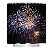 Blue Fireworks At Night Shower Curtain