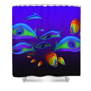 Blue Fish Dolphin Shower Curtain