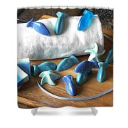 Blue Fish Mini Soap Shower Curtain