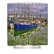 Blue Fishing Boat Hdr Shower Curtain