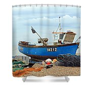 Blue Fishing Boat Shower Curtain