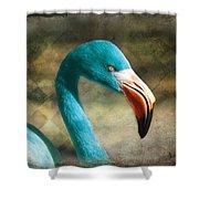 Blue Flamingo Shower Curtain