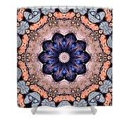 Blue Flora Mandala Shower Curtain
