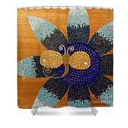 Blue Flower And Dragonfly Shower Curtain