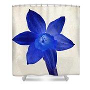 Blue Flower Beige Texture Shower Curtain