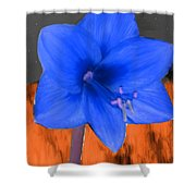 Blue Flower In The Fall At Night Shower Curtain