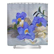 Blue Flower Still Life Shower Curtain