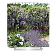 Blue Flowergarden With Wisteria Shower Curtain