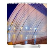 Blue Fountain At Night Shower Curtain