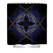 Blue Fractal Cross Shower Curtain