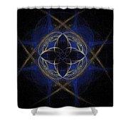 Blue Fractal Cross Shower Curtain