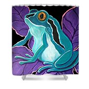 Blue Frog Purple Flower Shower Curtain