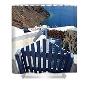 Blue Gate Oia Santorini Greek Islands Shower Curtain
