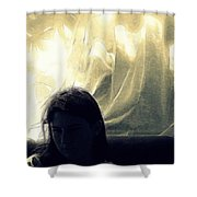 Blue Girl With Curtain  Shower Curtain