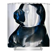 Blue Glass Bear Shower Curtain