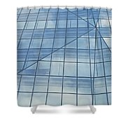 Blue Glass Chicago Facade Shower Curtain