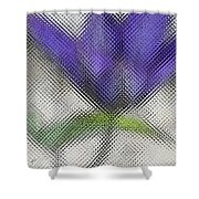 Blue Glass Flower Shower Curtain