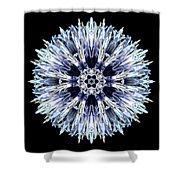 Blue Globe Thistle Flower Mandala Shower Curtain