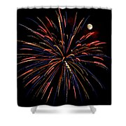 Blue Gold Pink And More - Fireworks And Moon Shower Curtain