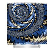 Blue Gold Spiral Abstract Shower Curtain