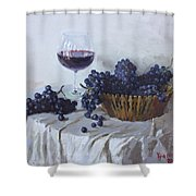 Blue Grapes And Wine Shower Curtain by Ylli Haruni