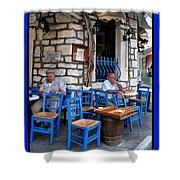 Blue Greek Taverna Shower Curtain
