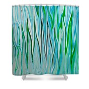 Blue Green Flames Shower Curtain