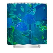 Blue Green Impression Shower Curtain