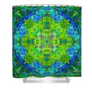 Blue Green Mandala Shower Curtain