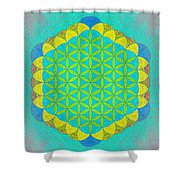 Blue Green Yellow Flower Of Life Shower Curtain