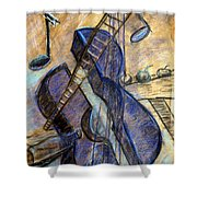 Blue Guitar - About Pablo Picasso Shower Curtain
