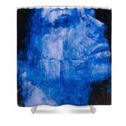Blue Head Shower Curtain