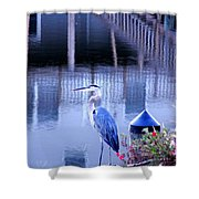 Blue Heron Reflections Shower Curtain