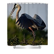 Blue Heron Wing Tips Shower Curtain