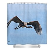 Blue Herons Last Fly By Shower Curtain