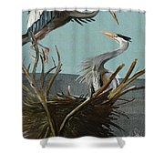 Blue Herons Shower Curtain