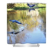 Blue Herons On Golden Pond Shower Curtain