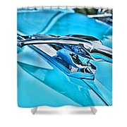 Blue Hood Ornament-hdr Shower Curtain