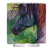 Blue Horse With Red Mane Shower Curtain