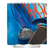 Blue Hot Rod Shower Curtain