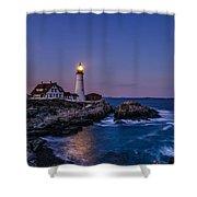 Blue Hour At Portland Head Lighthouse Shower Curtain