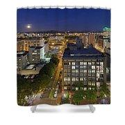 Blue Hour Moonrise II Over City Of Portland Oregon Shower Curtain